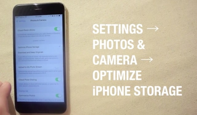Optimize iPhone Storage به جهت کاهش حجم تصاویر